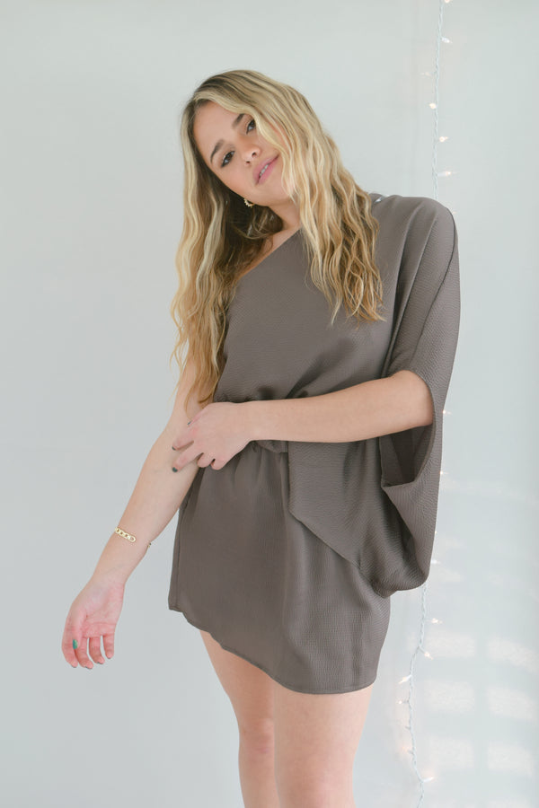 Walnut One Shoulder Dress