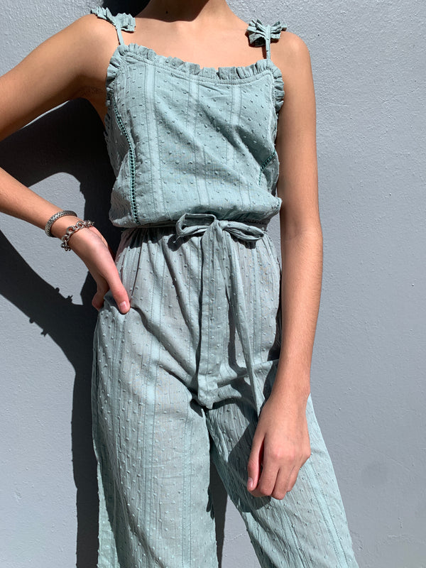 Belted Dobby Jumpsuit