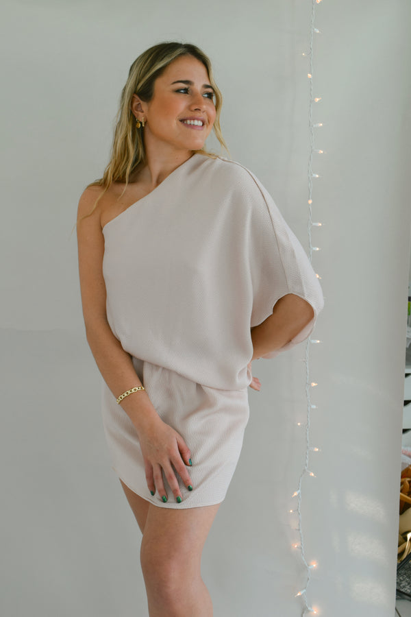 Champagne One Shoulder Dress