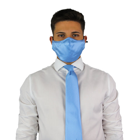Blue Squares Tie & Mask Set