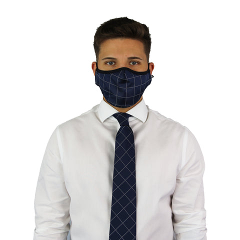 Navy Plaid Tie & Mask Set