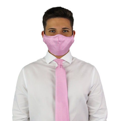 Pink Gingham Tie & Mask Set