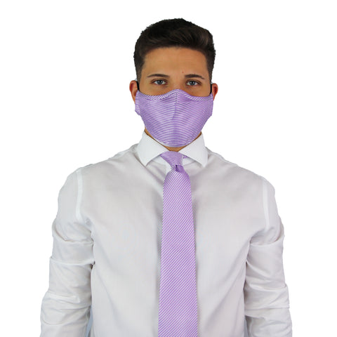 Purple Stripes Tie & Mask Set