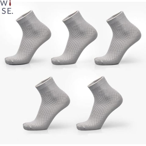 Bamboo Fiber Socks (5 Pcs) - Light Grey