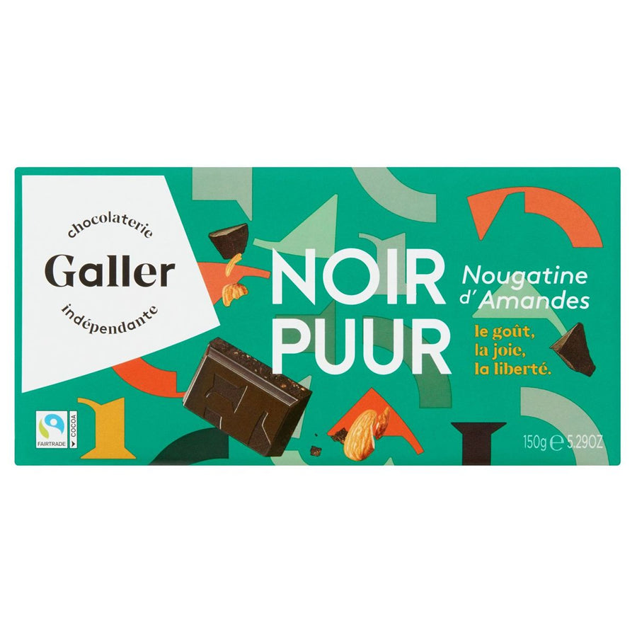 Galler Dark with Almond Nougatine 150 Gr