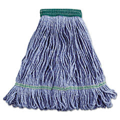 Blue Cotton/Synthetic Blend Saddle-Type LoopEnd Wet Mop w/Tailband , Medium Size, Each