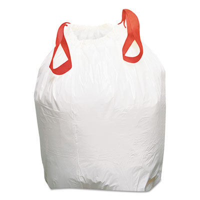 Drawstring Low-Density Can Liners, 13gal, 0.8mil, White, 100/Carton (trash bags)