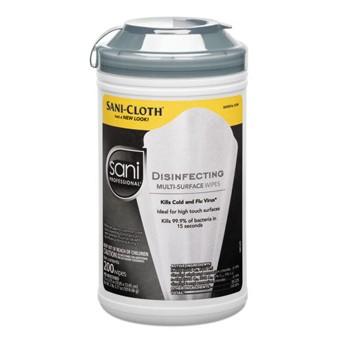 SaniCloth Disinfecting Multi-Surface Wipes, 7 1/2 x 5 3/8, 200/Canister, 6/Carton
