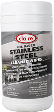 Claire Stainless Steel Wipes, CL993, 40 wipes/tub, 6 tubs/case - FREE SHIPPING