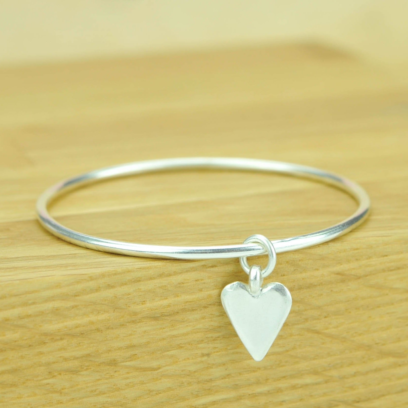 Midi sterling silver Hammered Bangle with Chunky Heart Charm