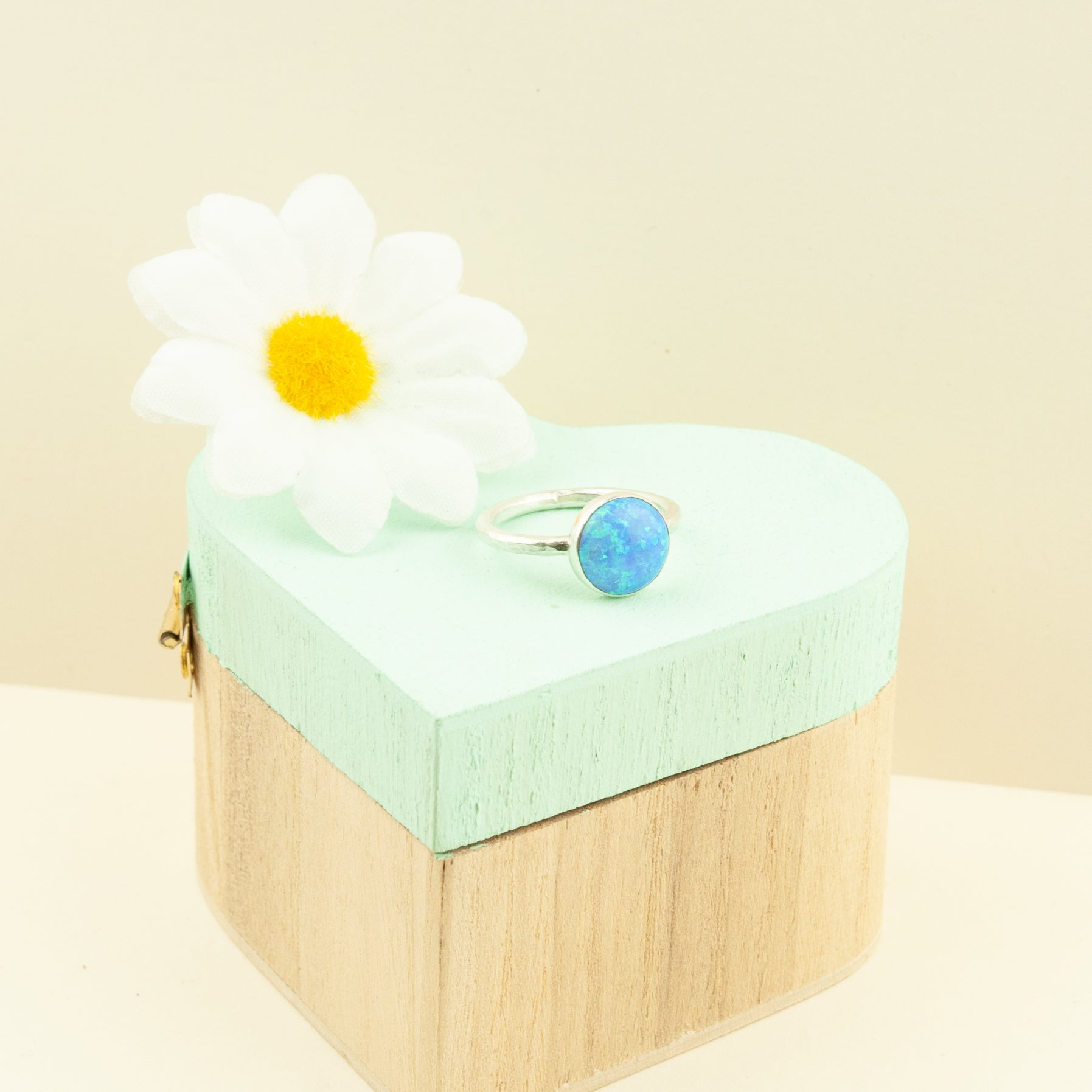 Belle & Bee blue opal stacking ring