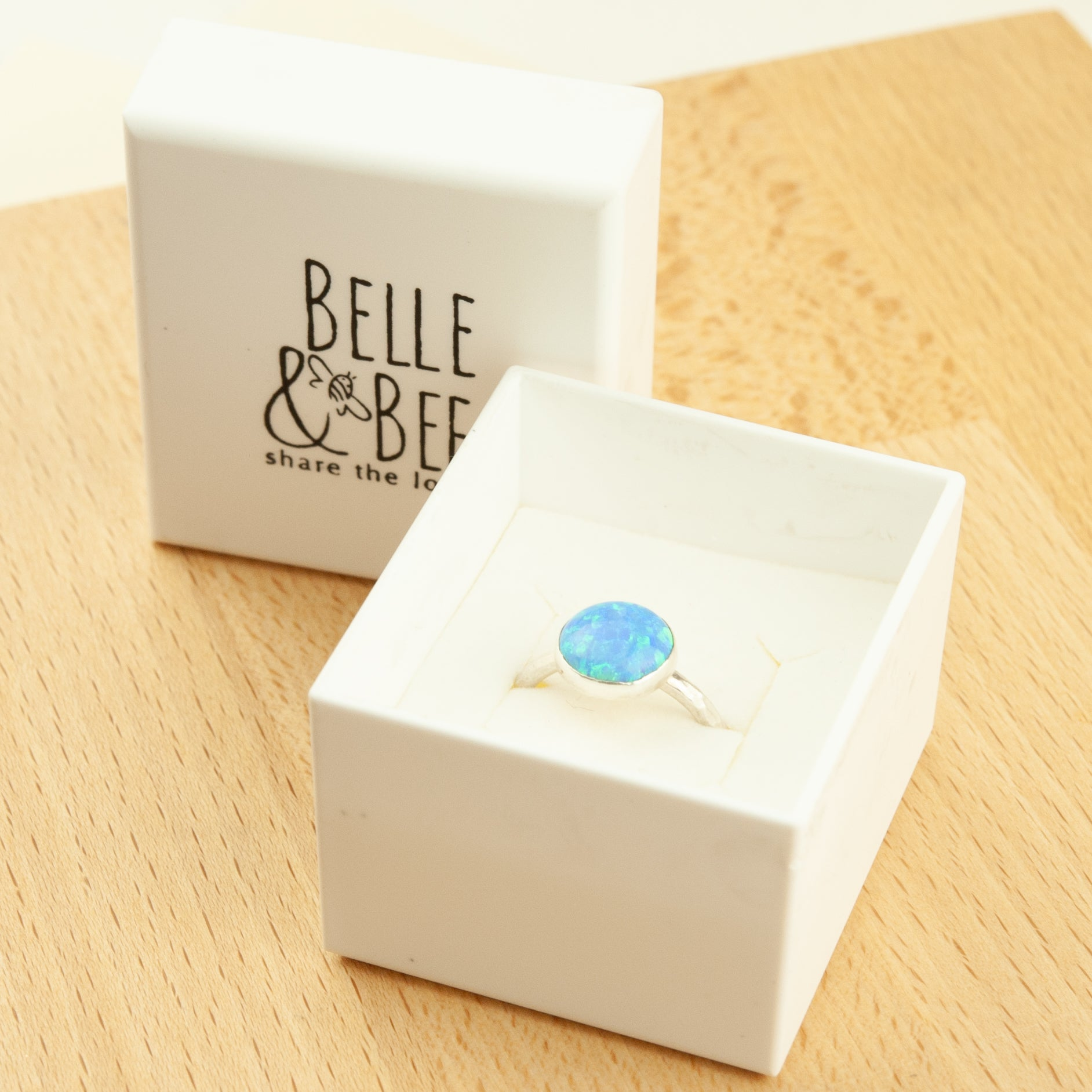 Belle & Bee opal stack ring