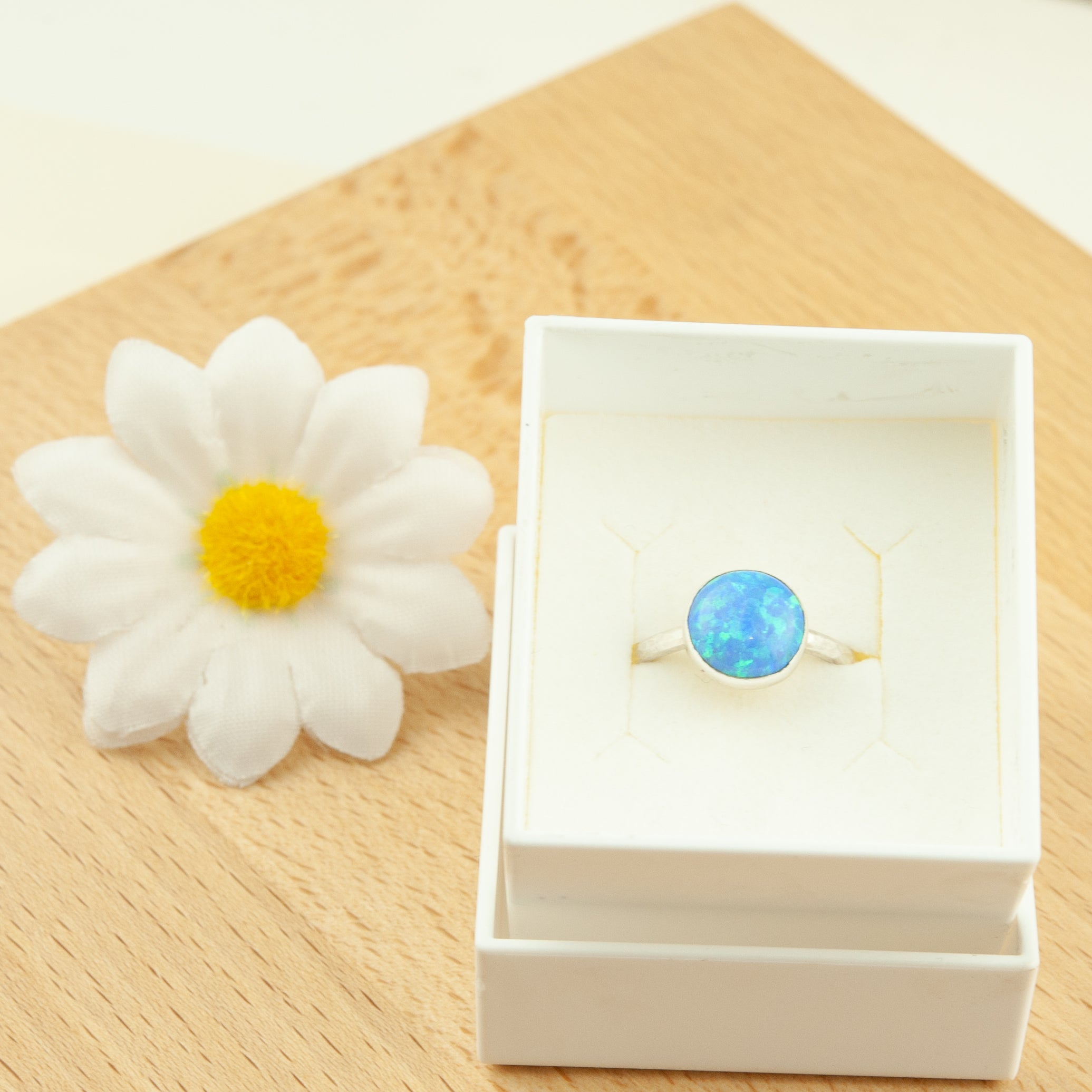 Belle & Bee blue opal silver stack ring