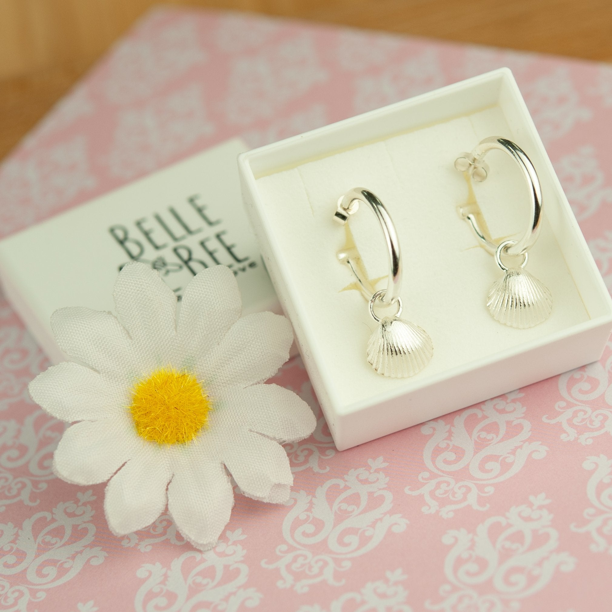 Belle & Bee mini shell hoop earrings