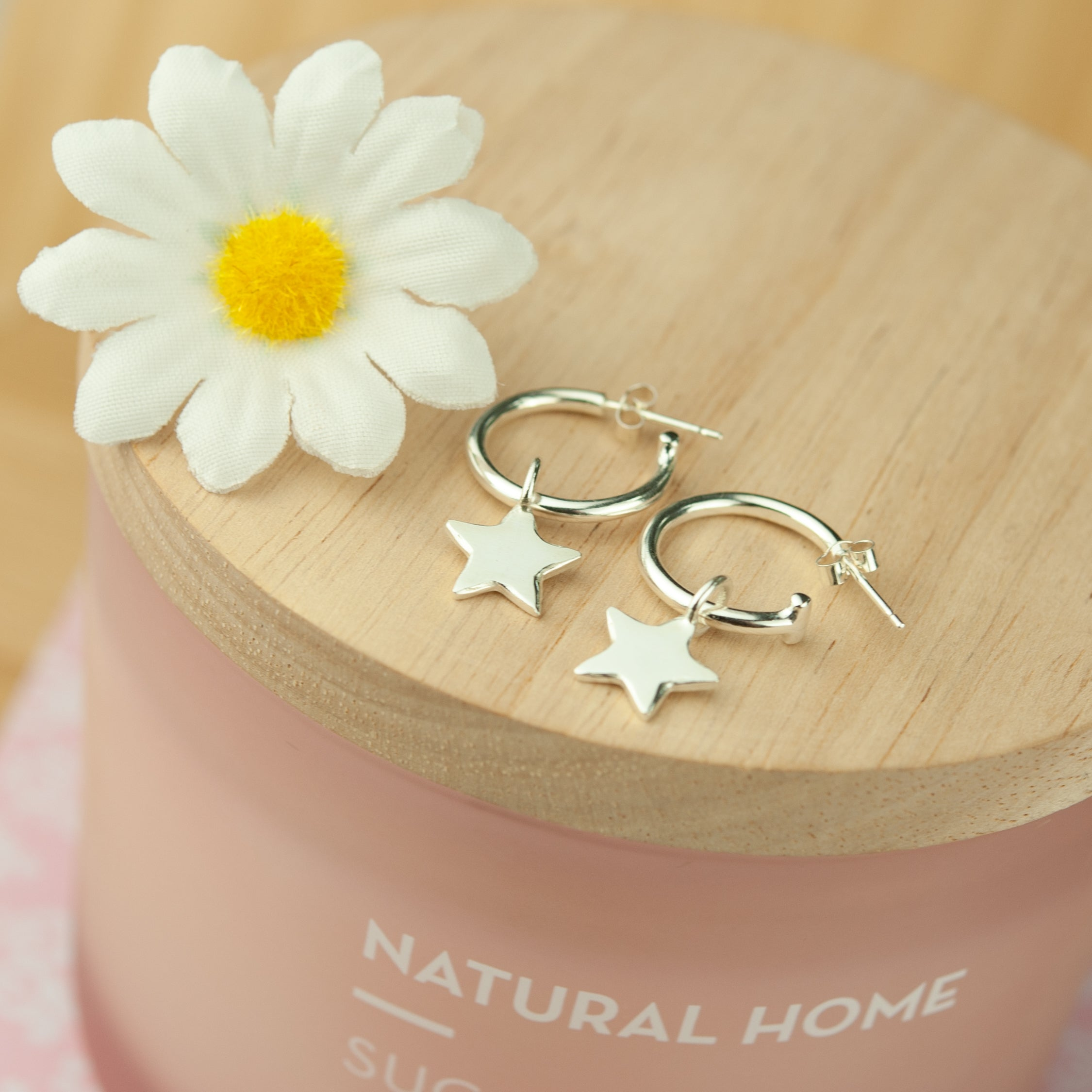 Belle & Bee mini star hoop earrings