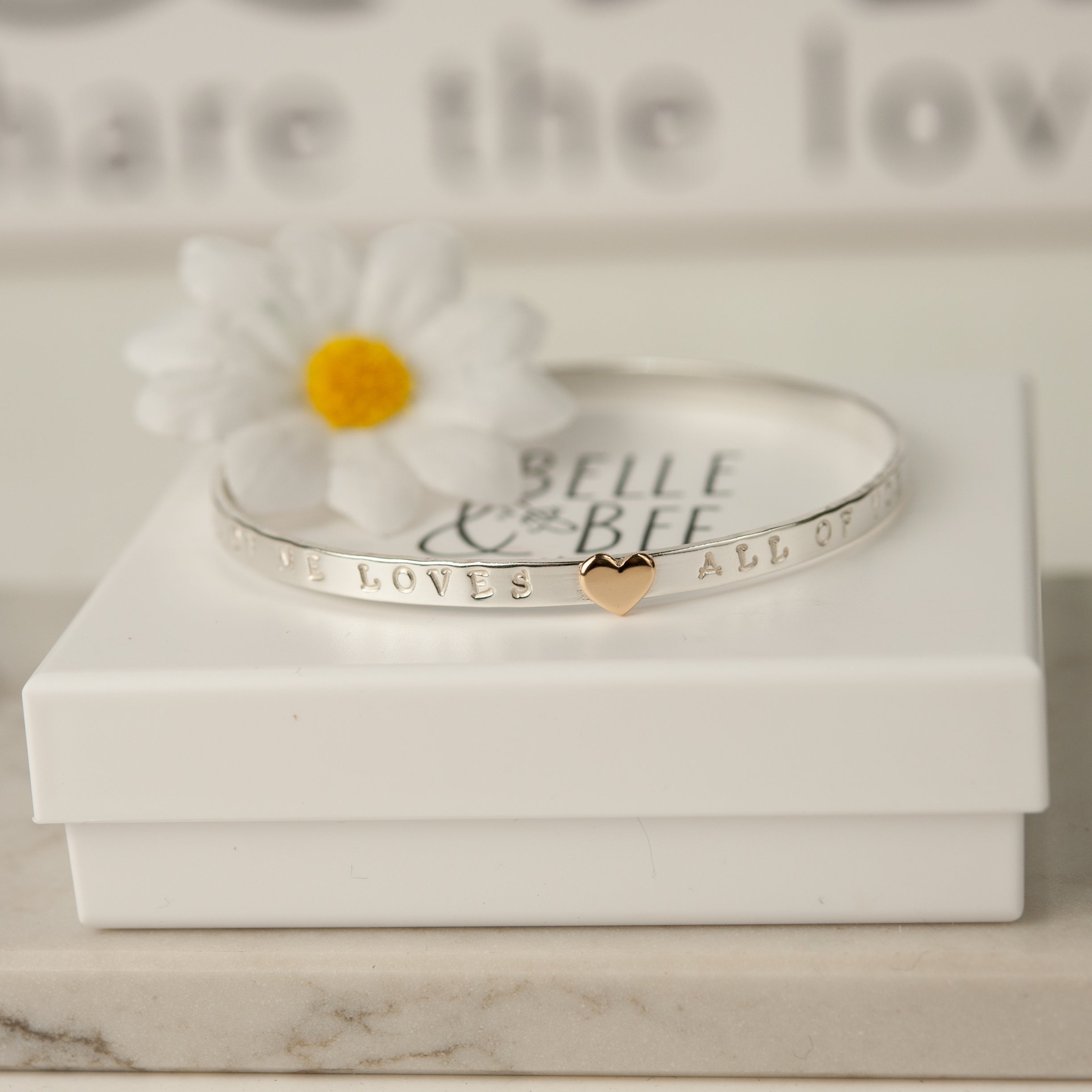 Belle & Bee All of me loves all of you gold heart bangle