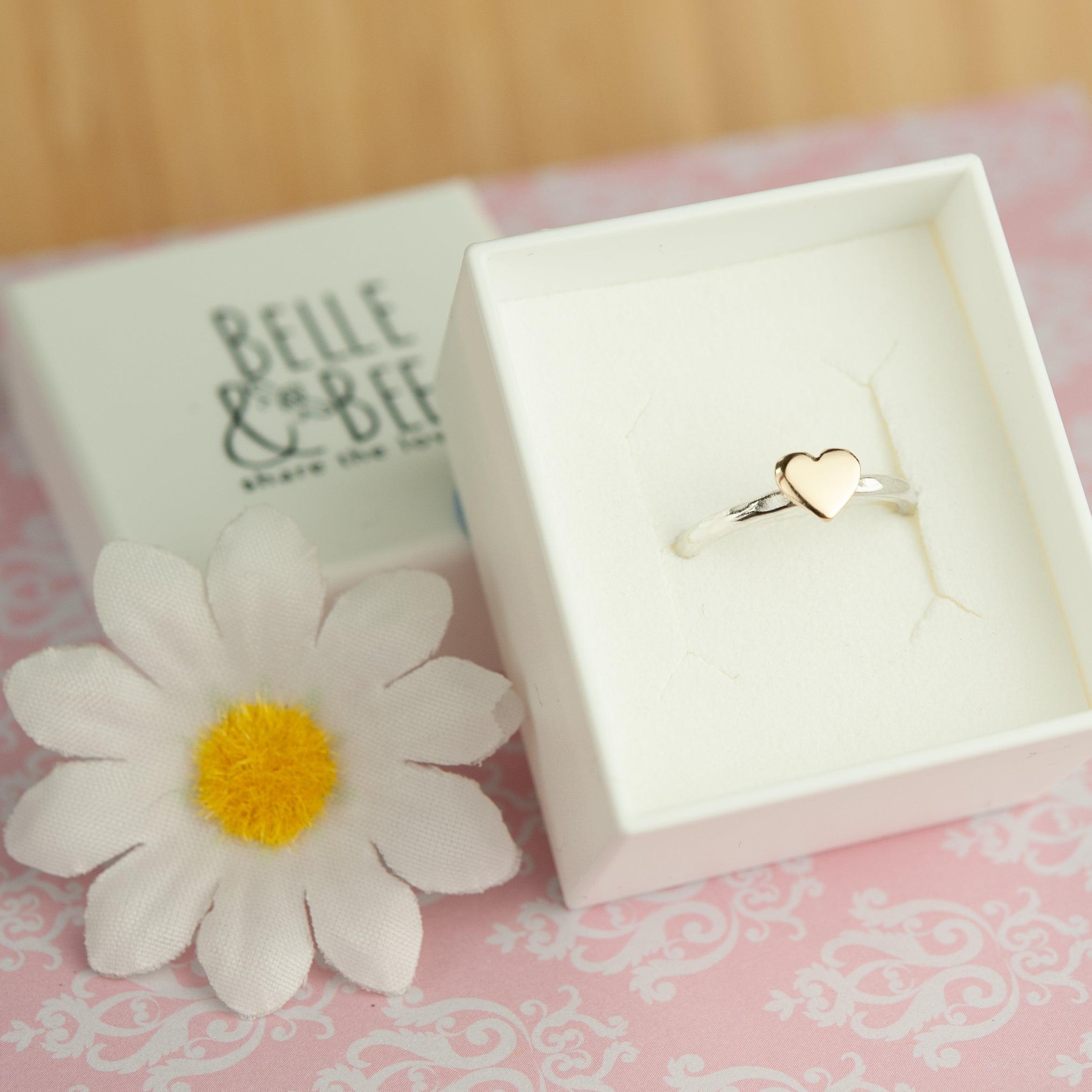 Belle & Bee Gold heart stack ring