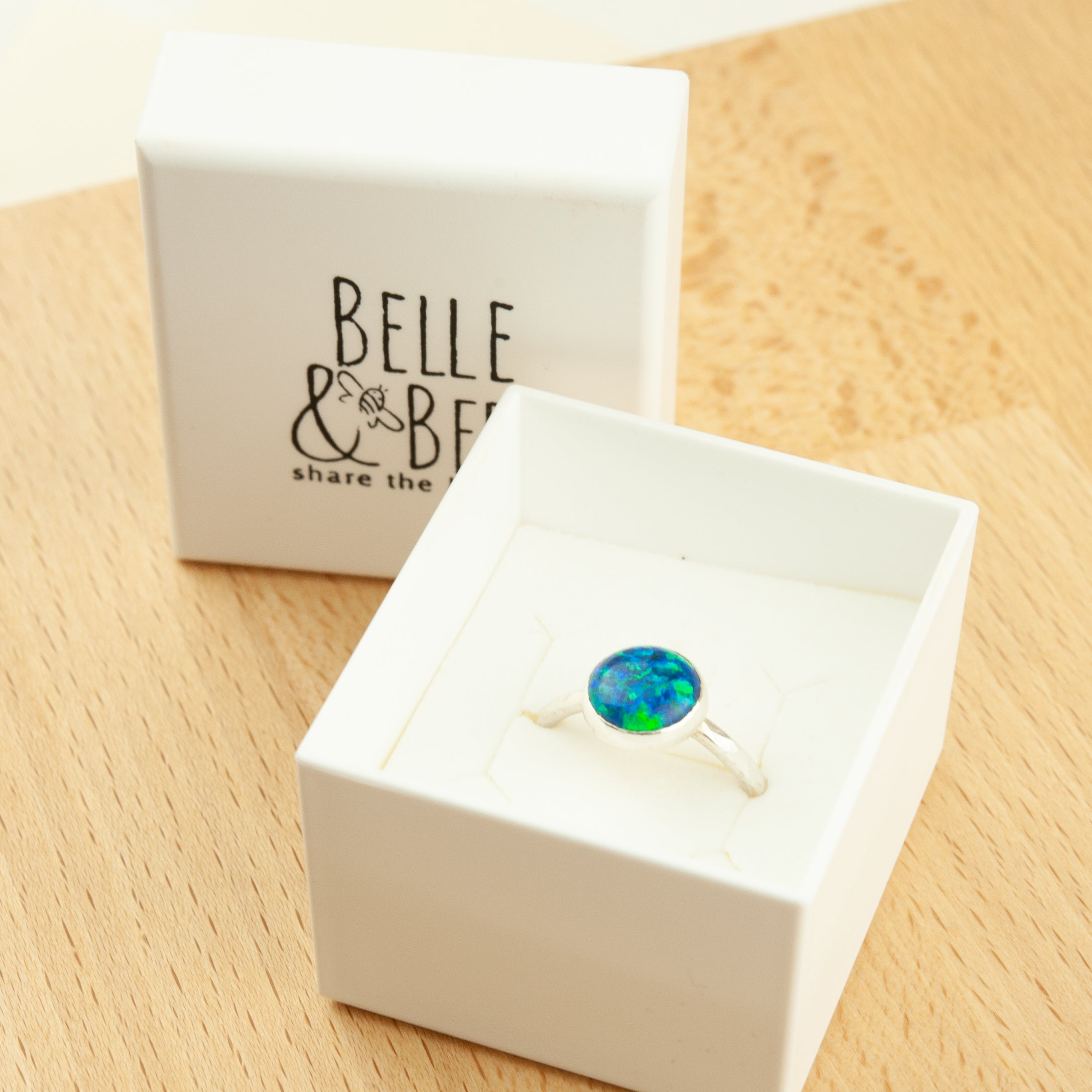 Belle & Bee sterling silver opal ring