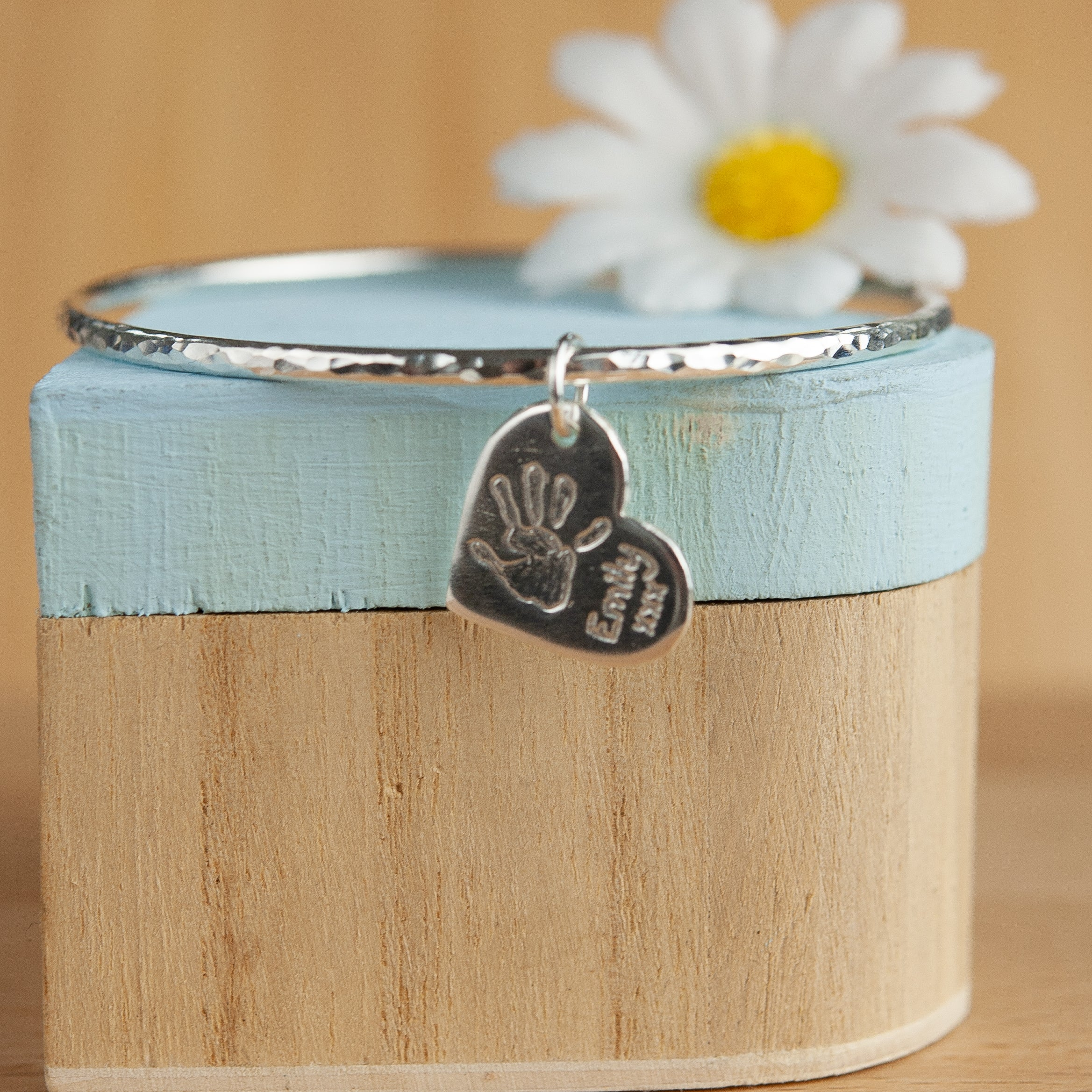 Belle & Bee Sterling Silver handprint bangle