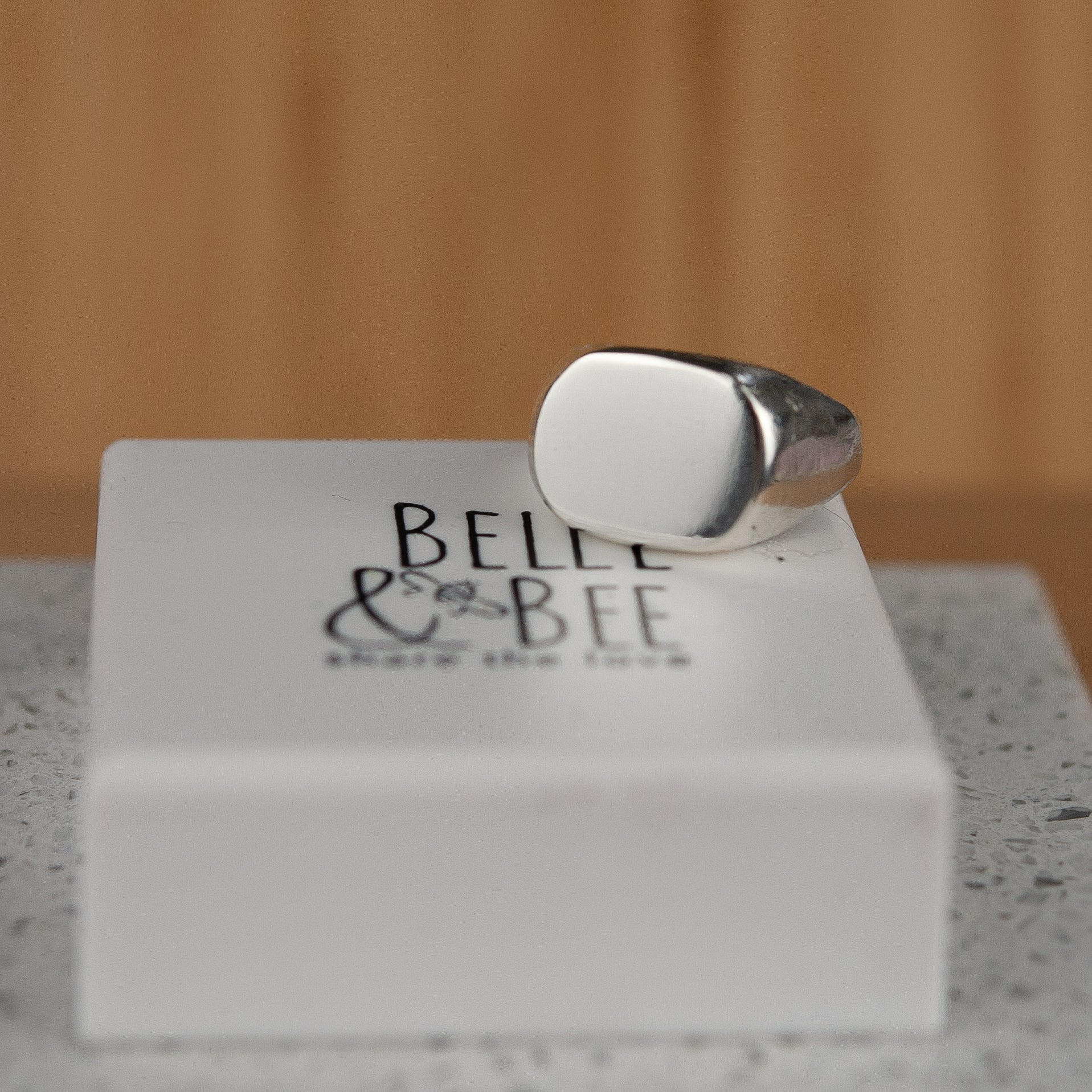 Belle & Bee Sterling Silver mens signet ring