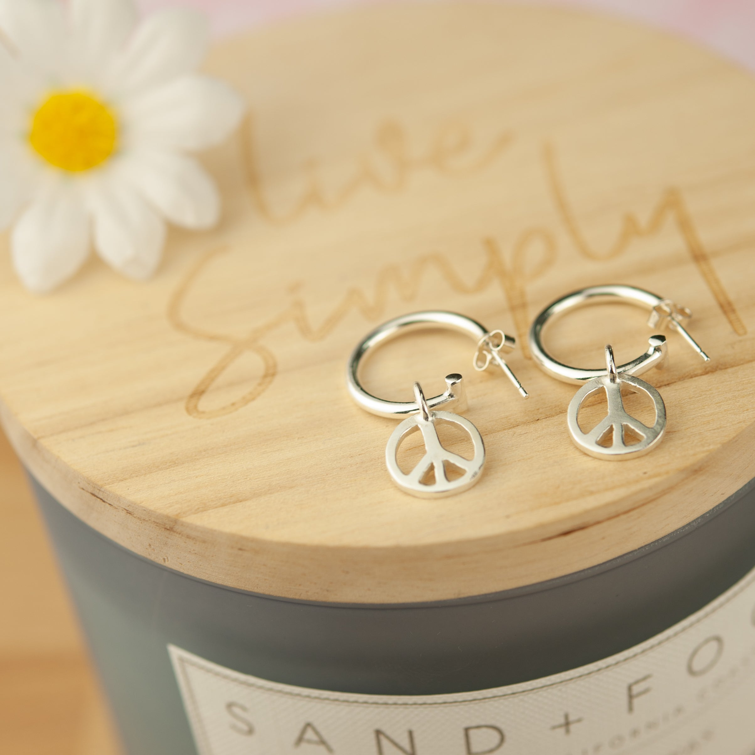 Belle & Bee peace sign hoop earrings