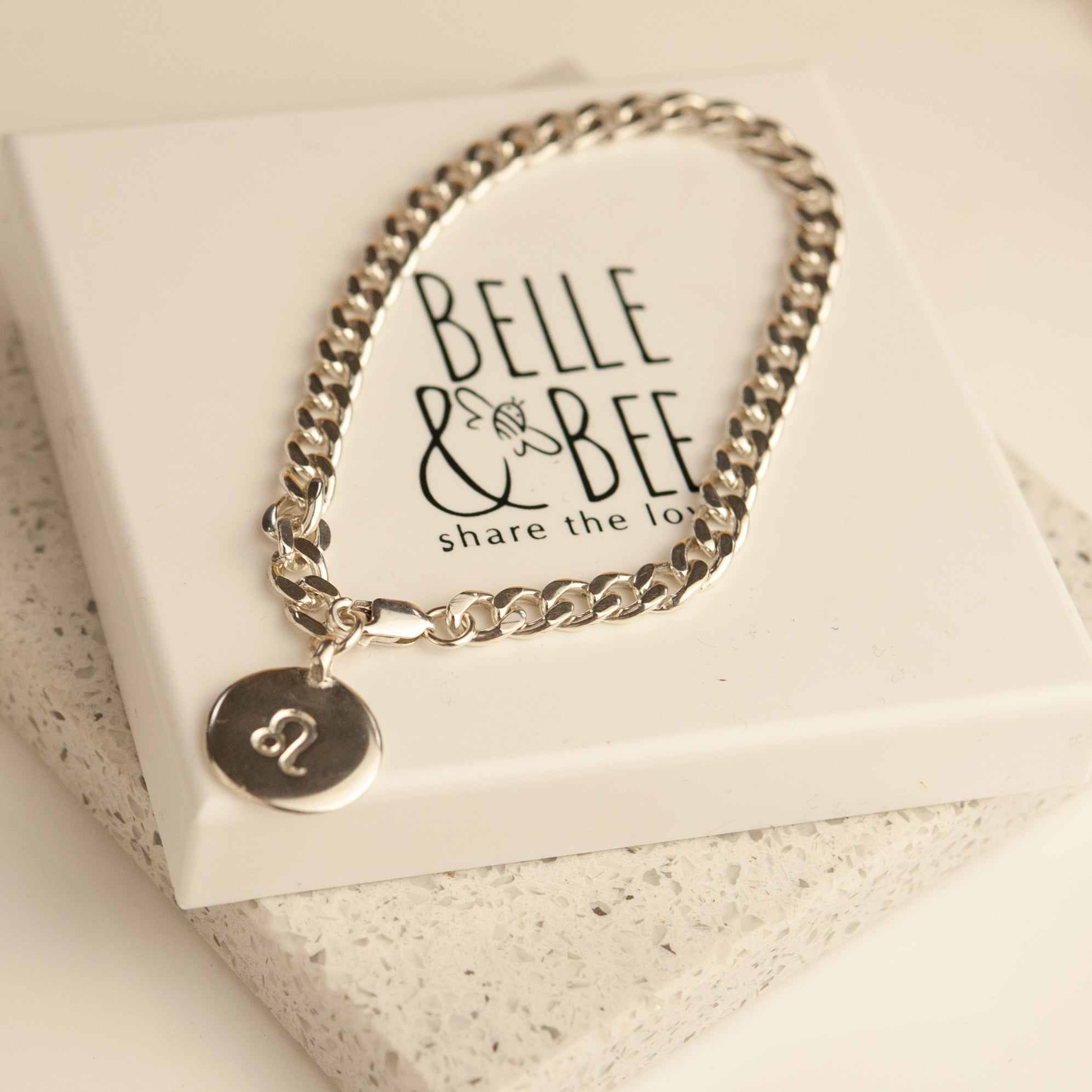 Belle & Bee Sterling Silver Chunky Horoscope Disc bracelet