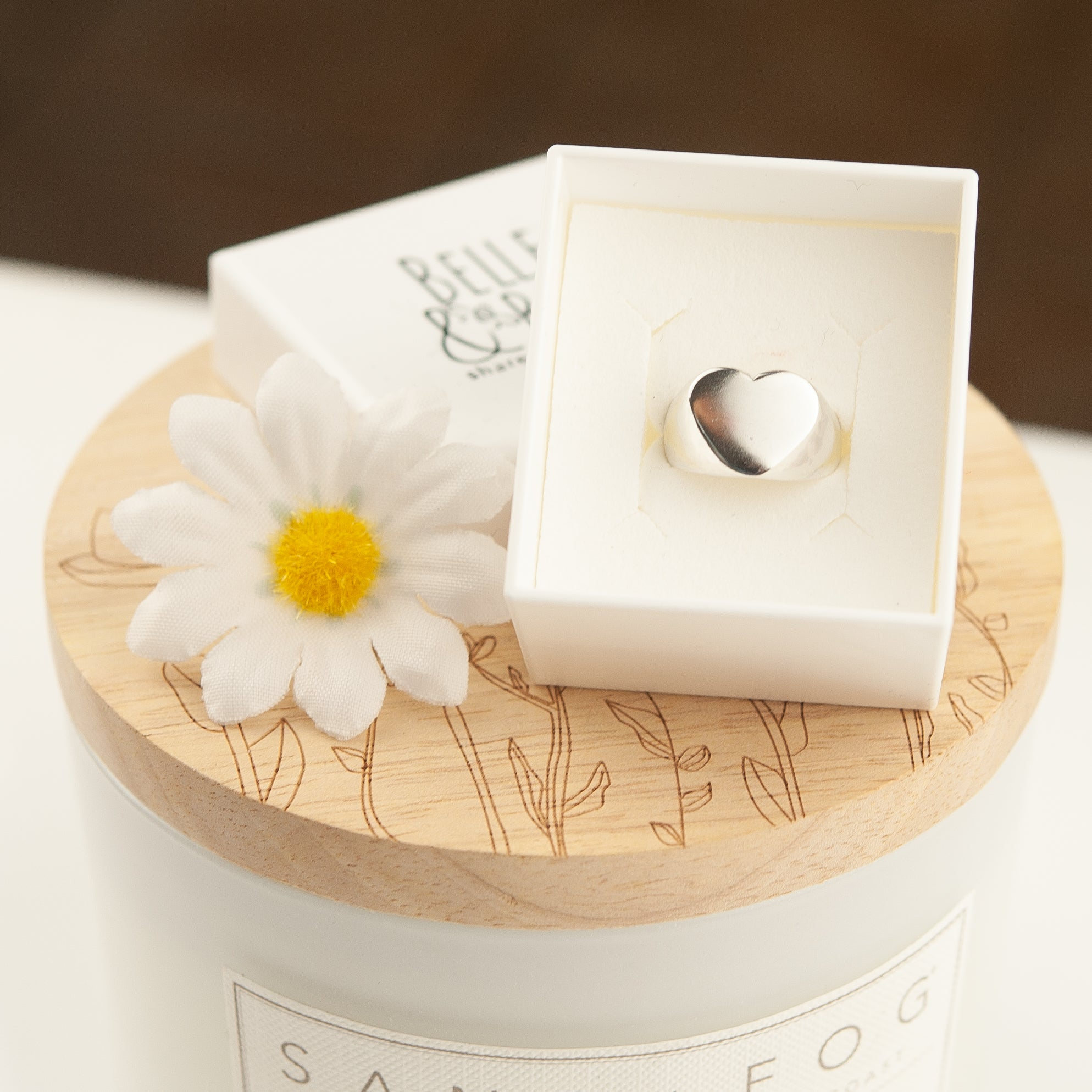 Belle & Bee chunky heart signet ring