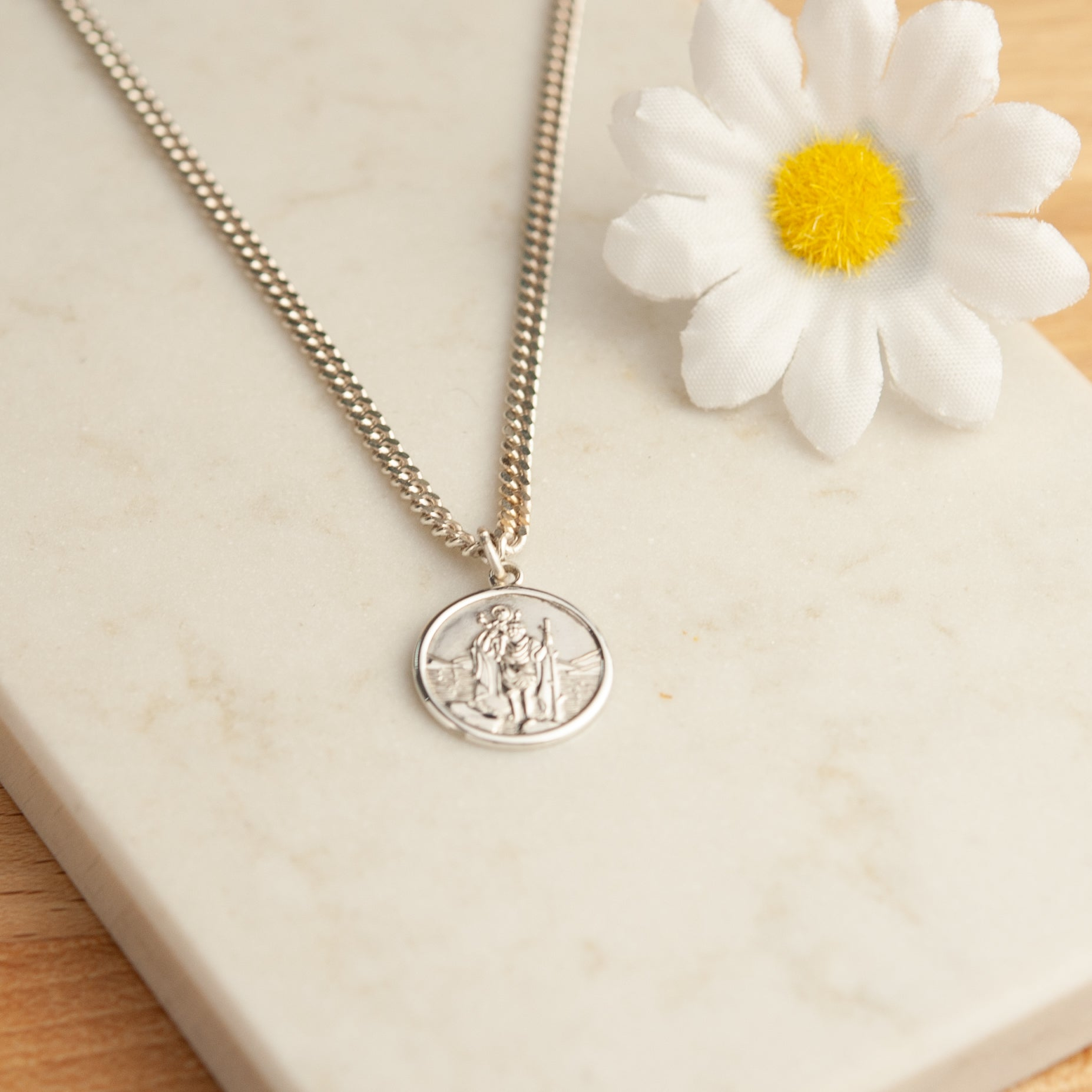 Belle & Bee Sterling Silver St Christopher necklace