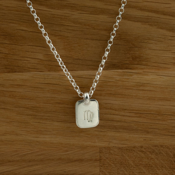 Sterling Silver Belcher Chain with Star sign Lozenge Charm