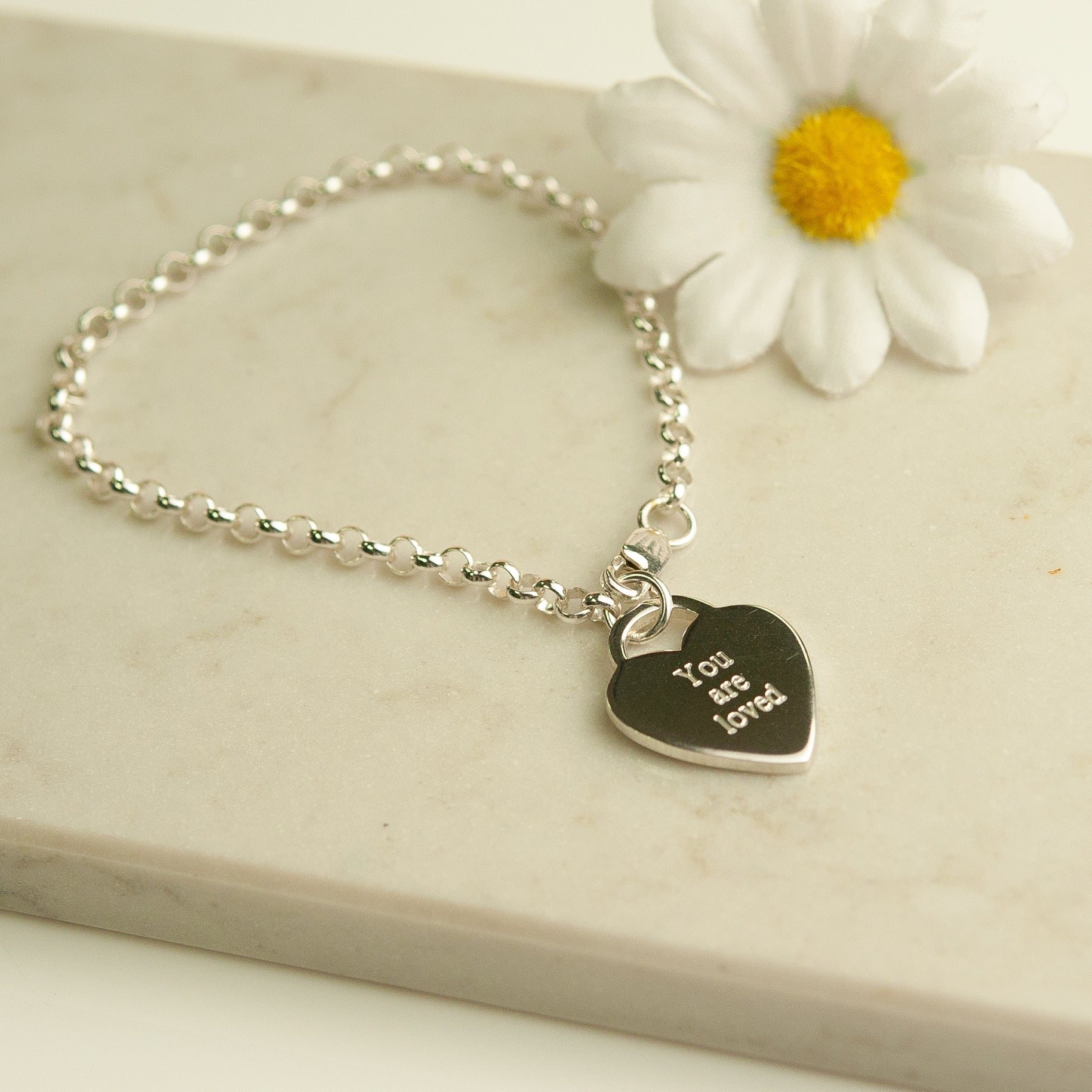 Belle & Bee Sterling silver you are loved heart bracelet