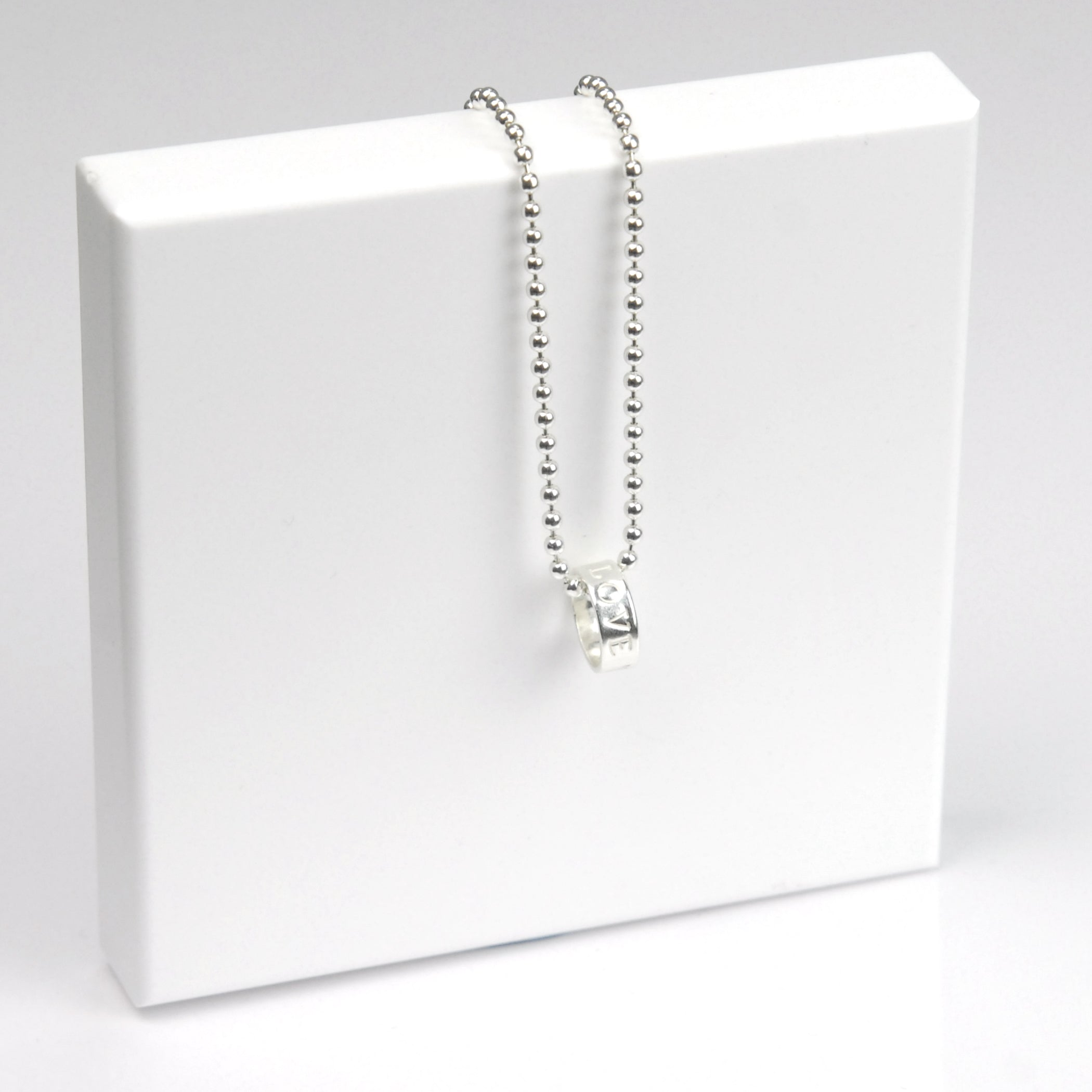 Belle & Bee Sterling Silver Ball Chain Necklace  with Personalised Love Loop