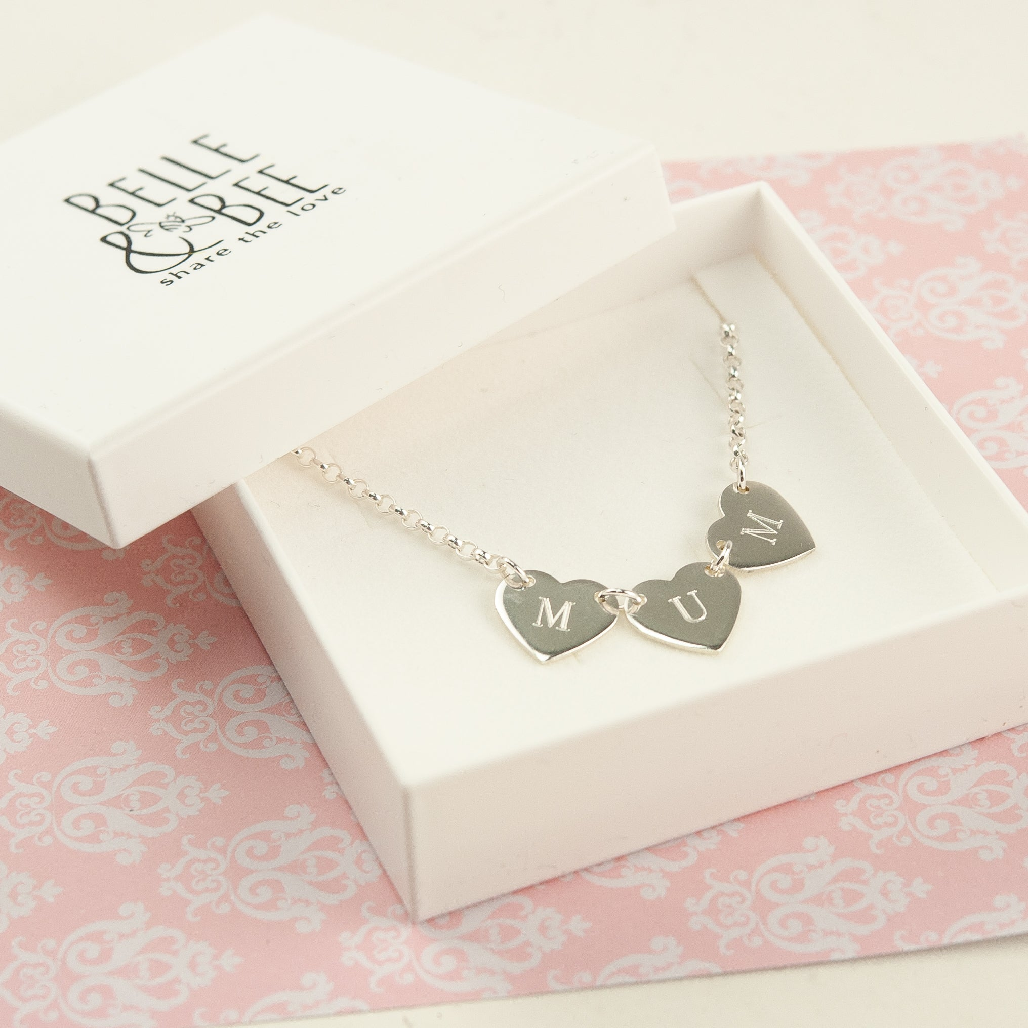 Belle & Bee Sterling Silver Mum 3 Heart Belcher 3 Necklace