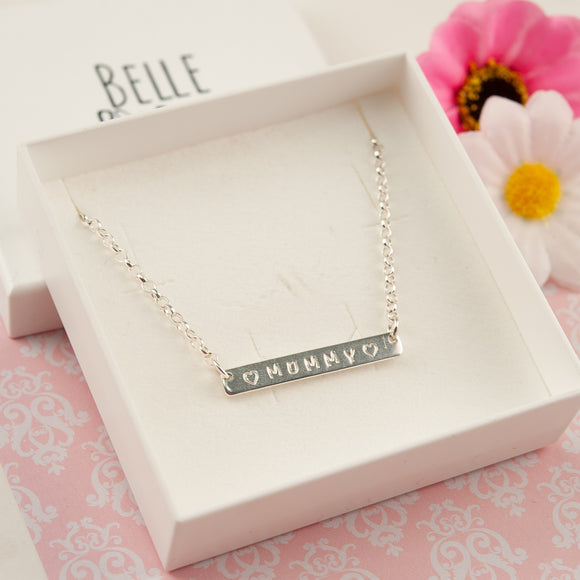 Mum/Mummy Sterling Silver Bar Necklace