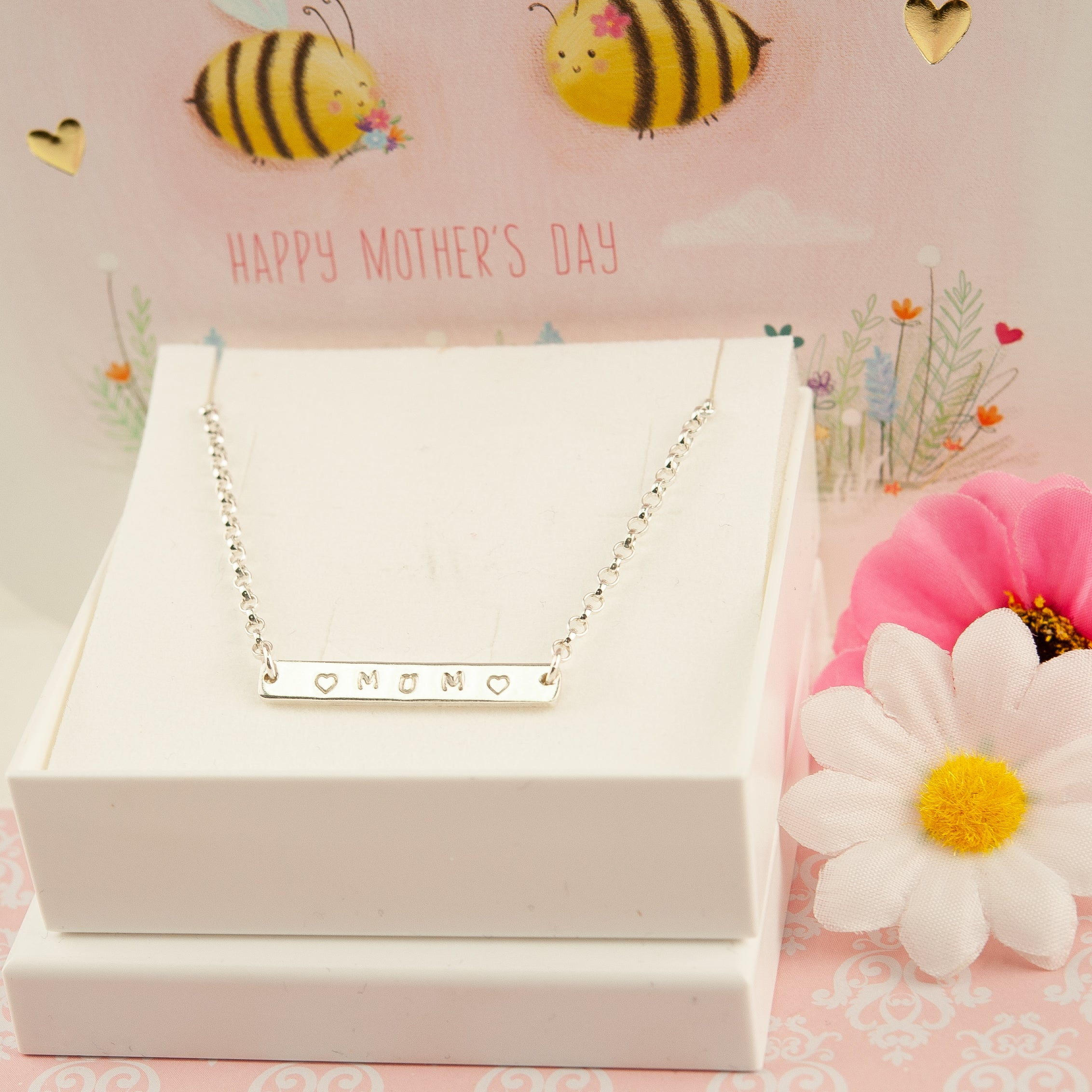 Belle & Bee sterling silver bar necklace