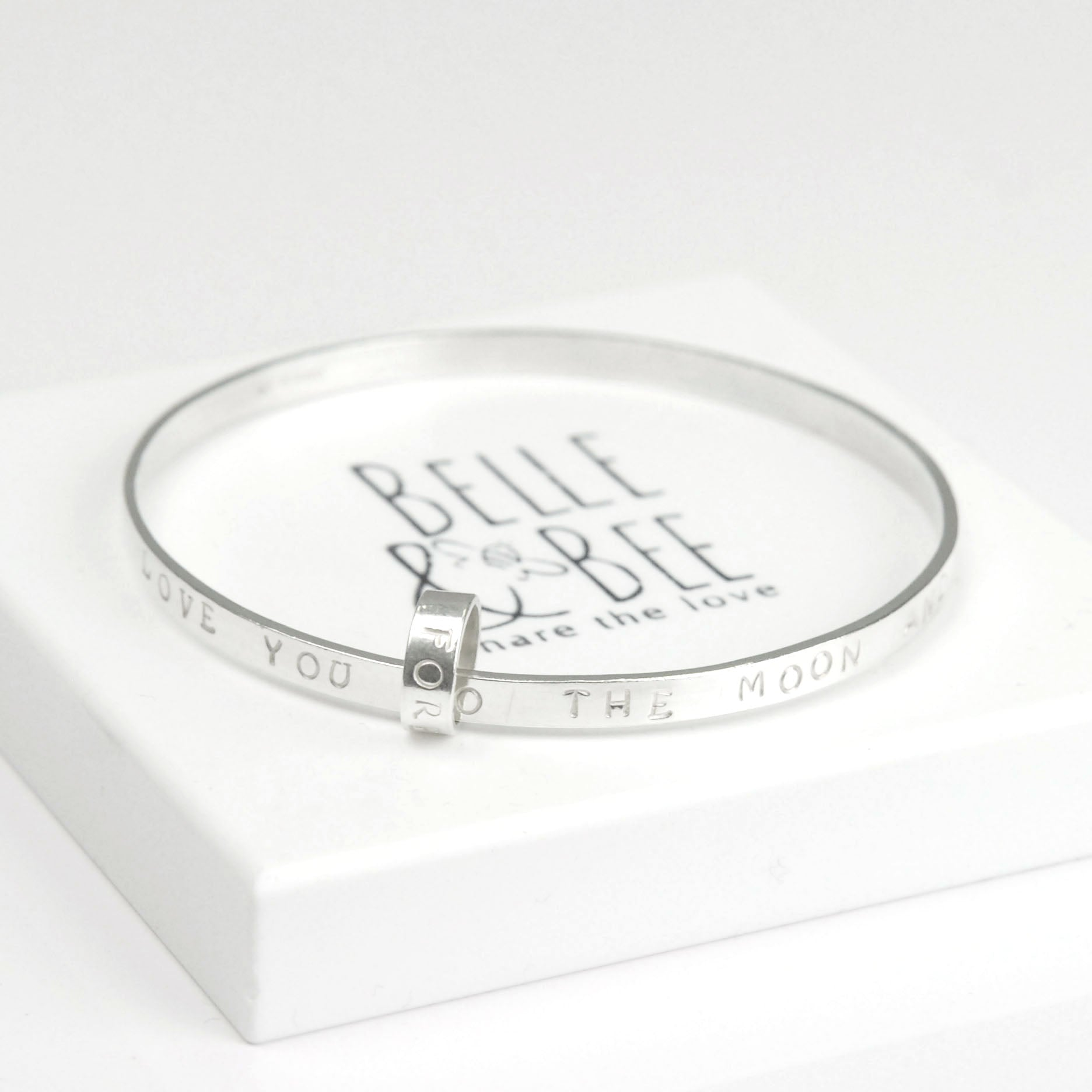 Belle & Bee Personalised Sterling Silver Message bangle with Love Loop