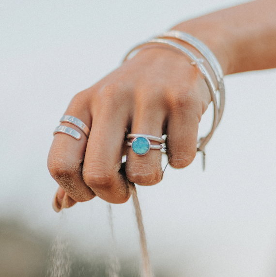 Belle & Bee Blue opal ring
