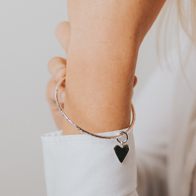 Belle & Bee sterling silver heart bangle