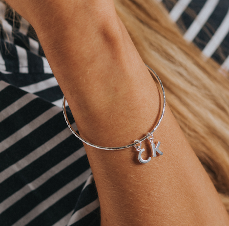 Belle & Bee sterling silver alphabet bangle