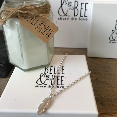 Belle & Bee Sterling Silver Belcher Chain Necklace with Feather Charm