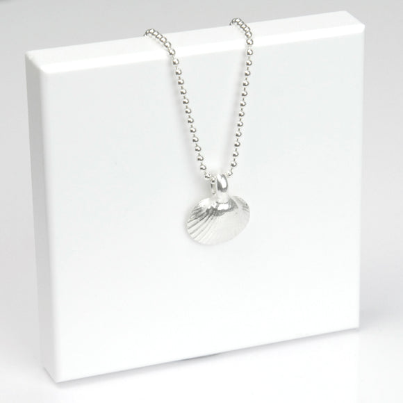 Belle & Bee Sterling Silver Ball Chain Necklace with Chunky Shell Charm