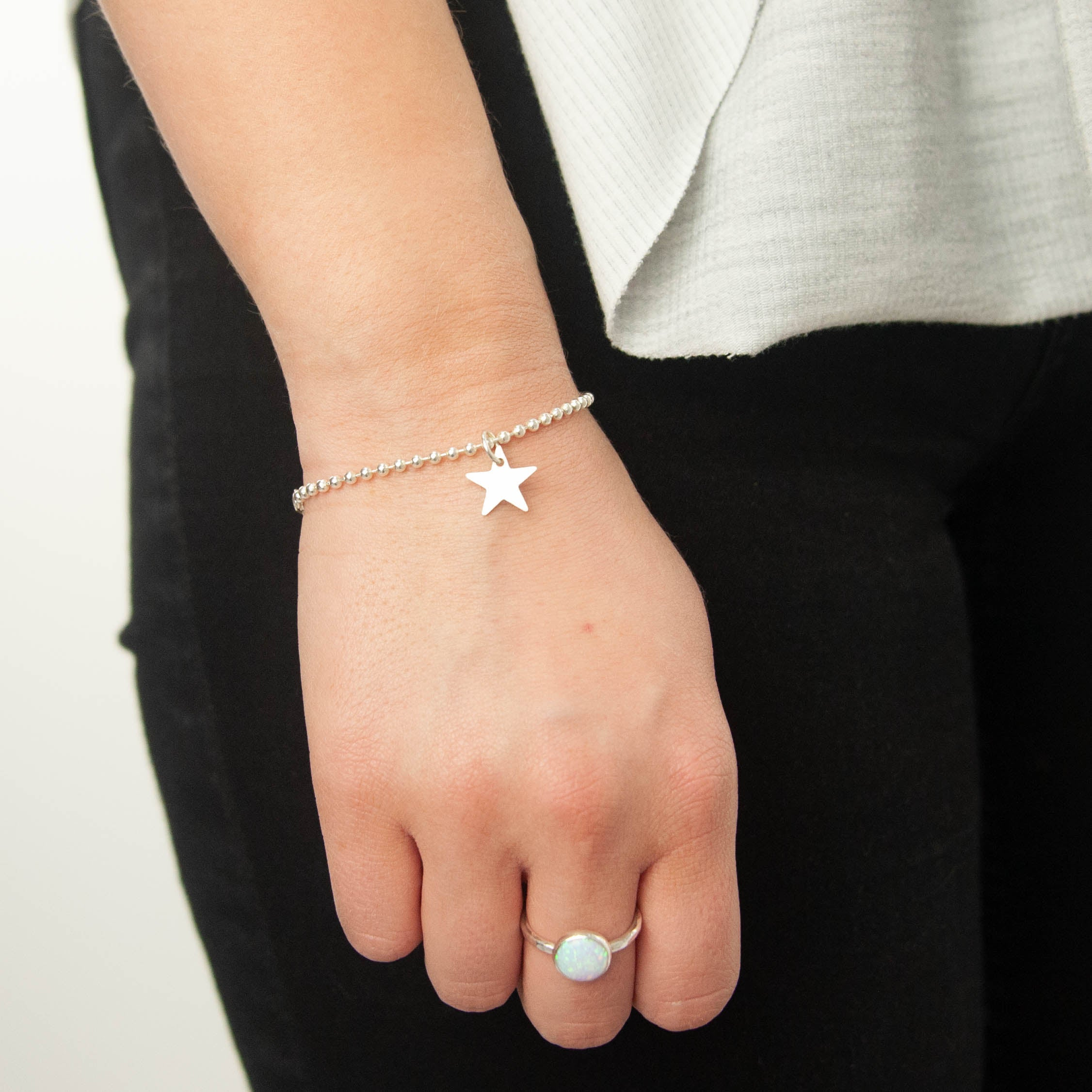 Sterling Silver Ball Bracelet with Small Personalised Charm