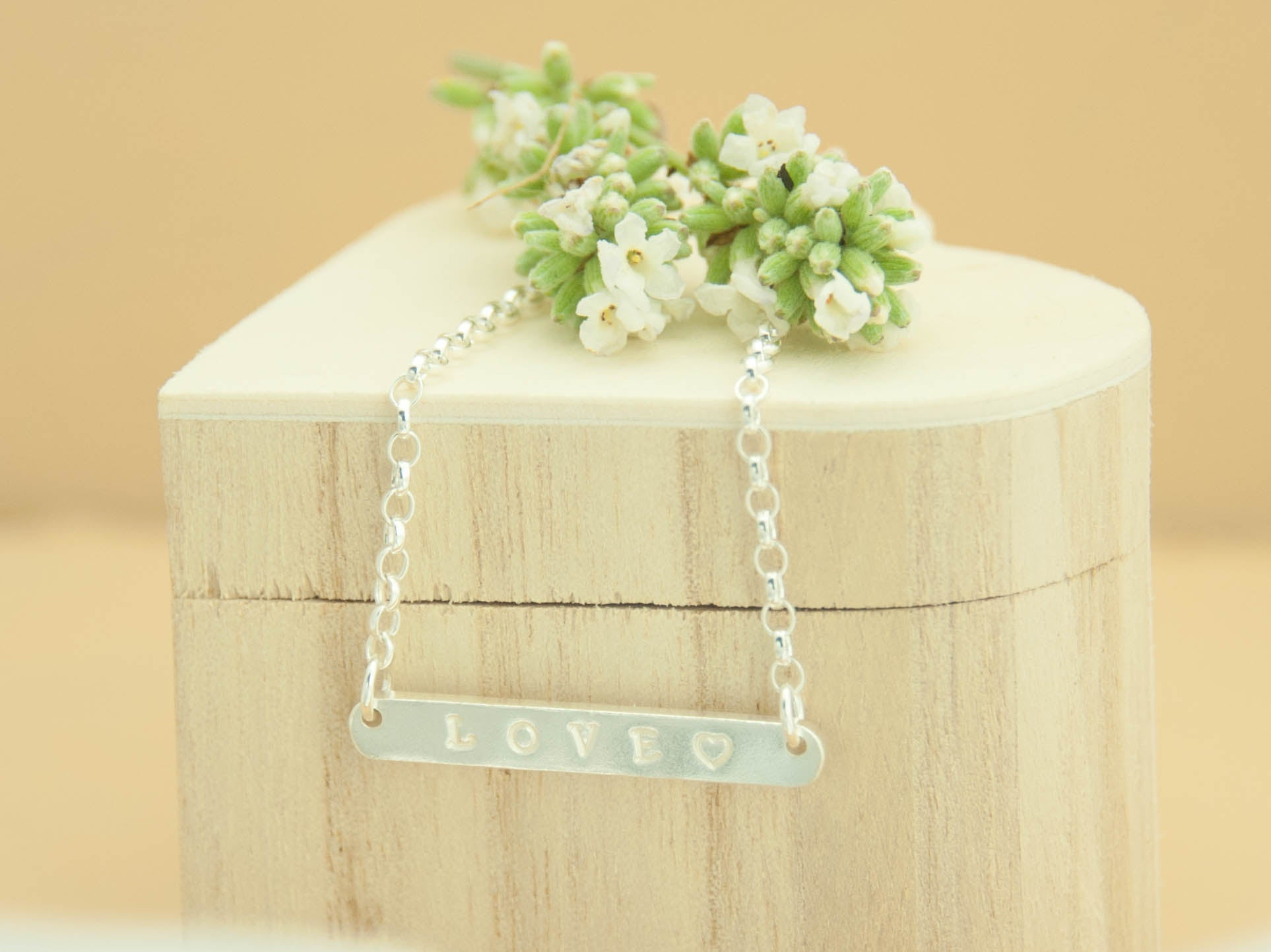 Belle & Bee Personalised Sterling Silver  Bar Necklace