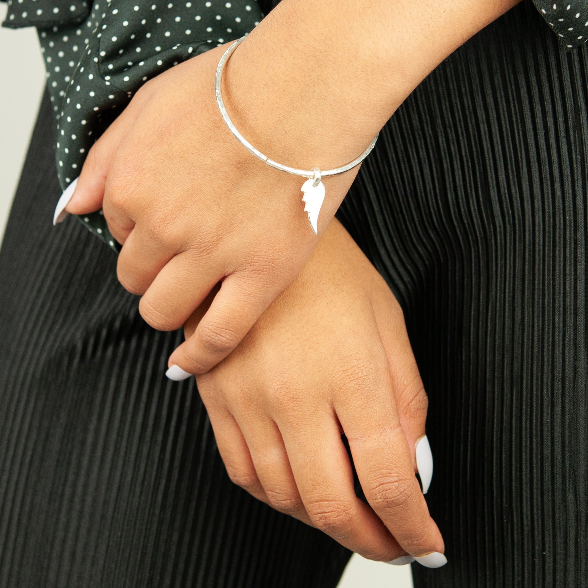 Belle & Bee Midi Sterling Silver Bangle with Chunky Angel Wing Charm