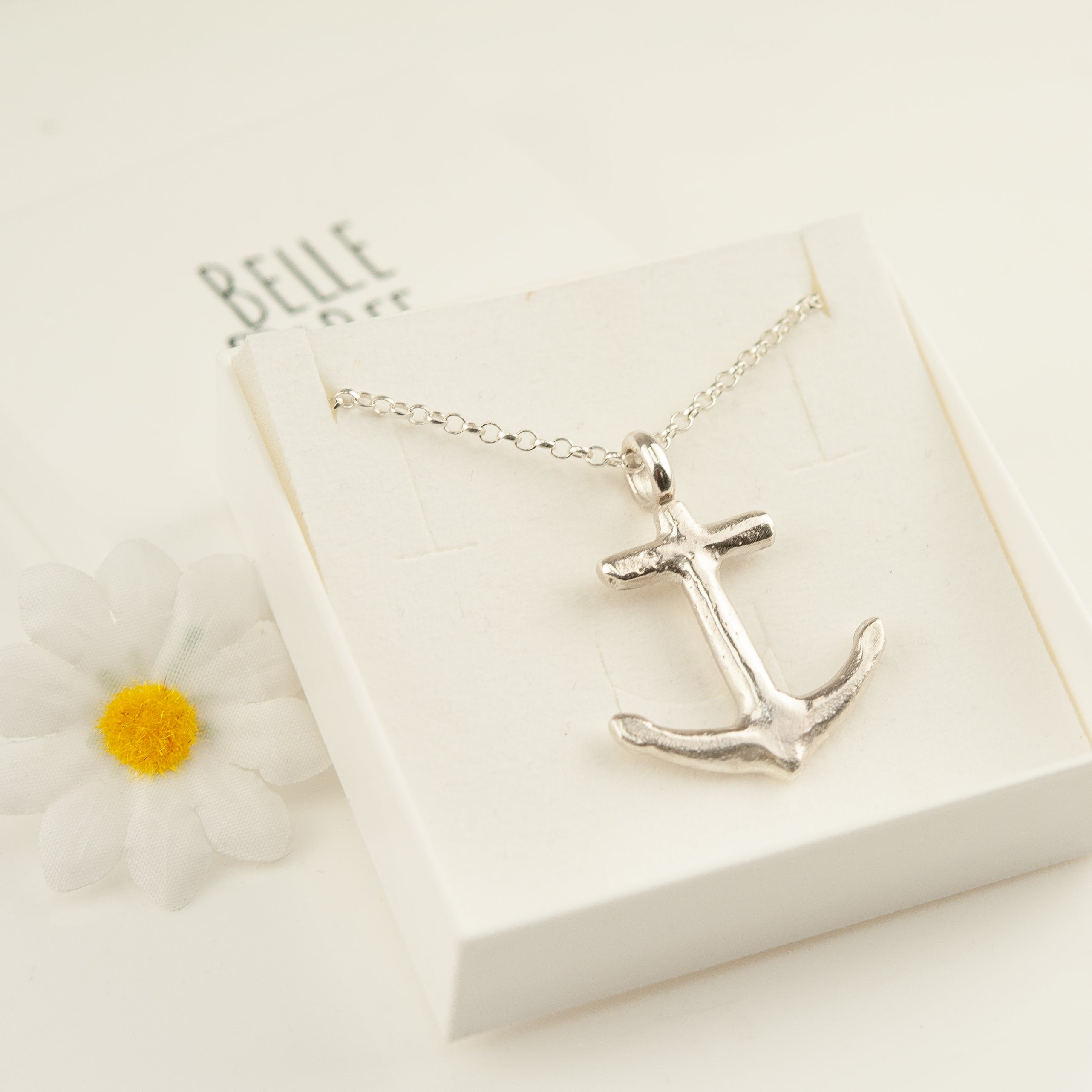 Belle & Bee sterling silver large anchor necklace