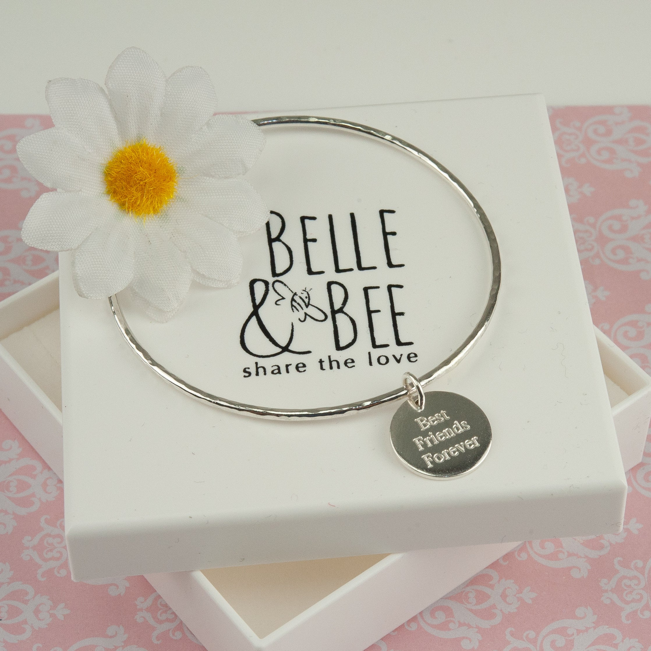 Best Friends Forever sterling silver engraved quote bangle