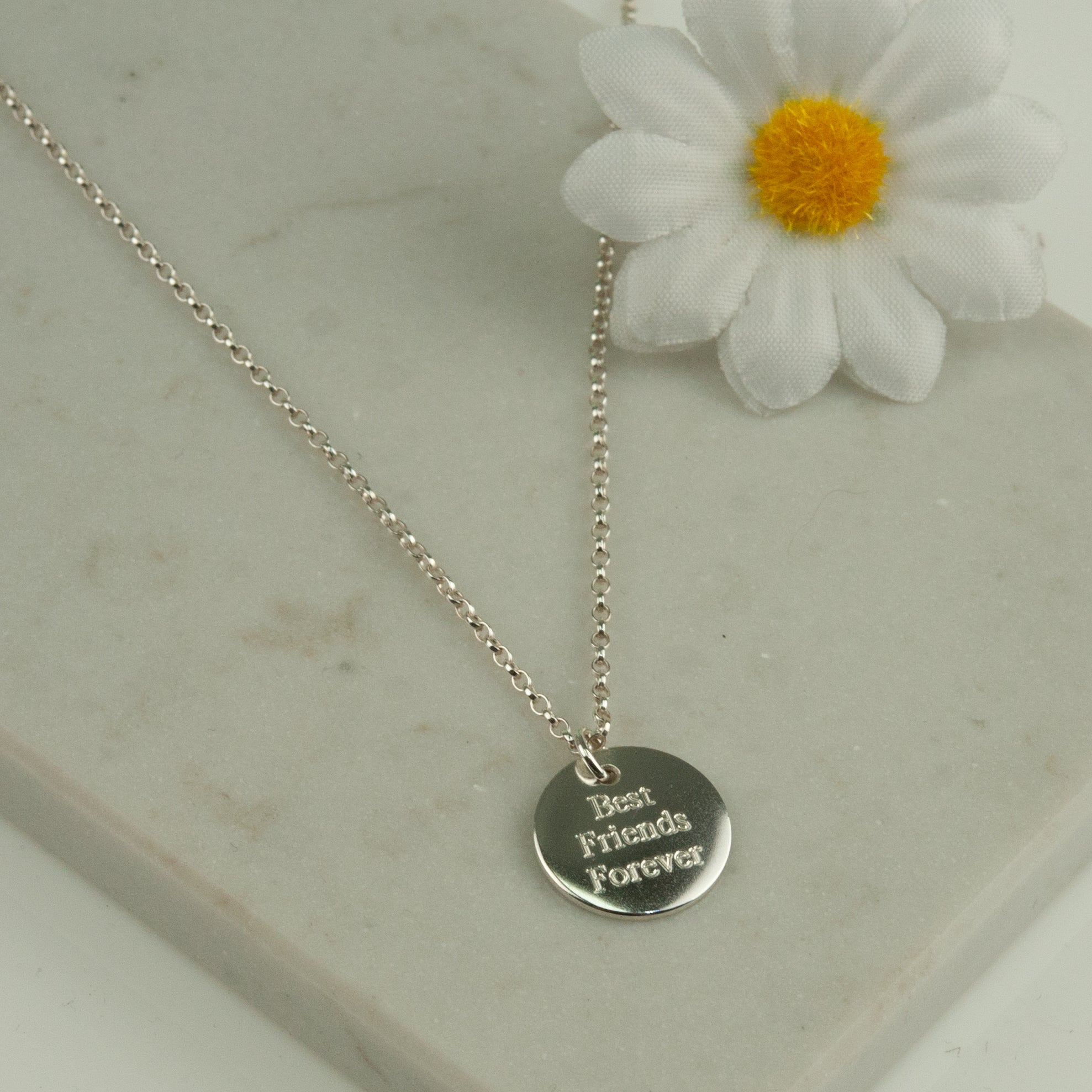 Belle & Bee quote disc necklace