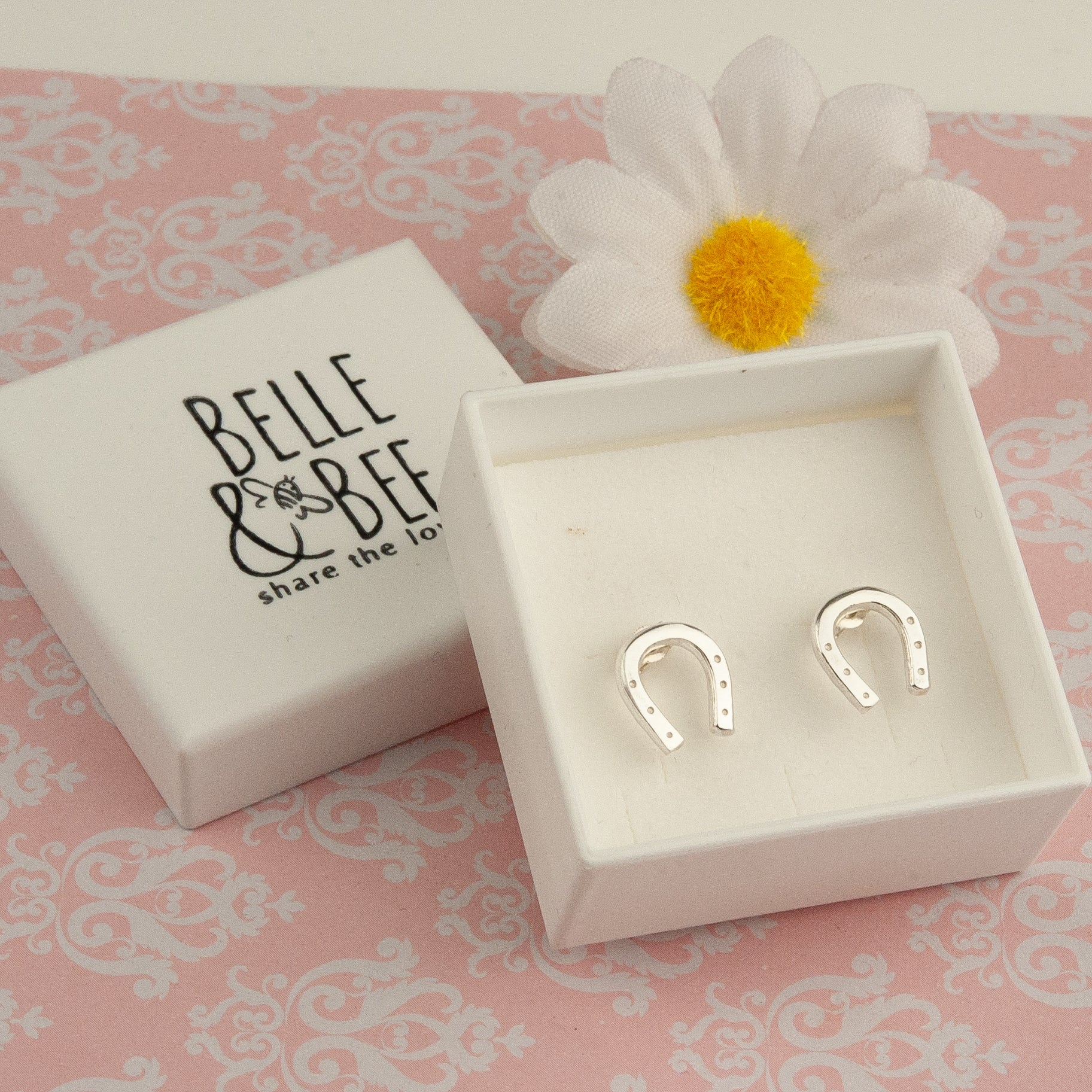Belle & Bee silver horseshoe earrings