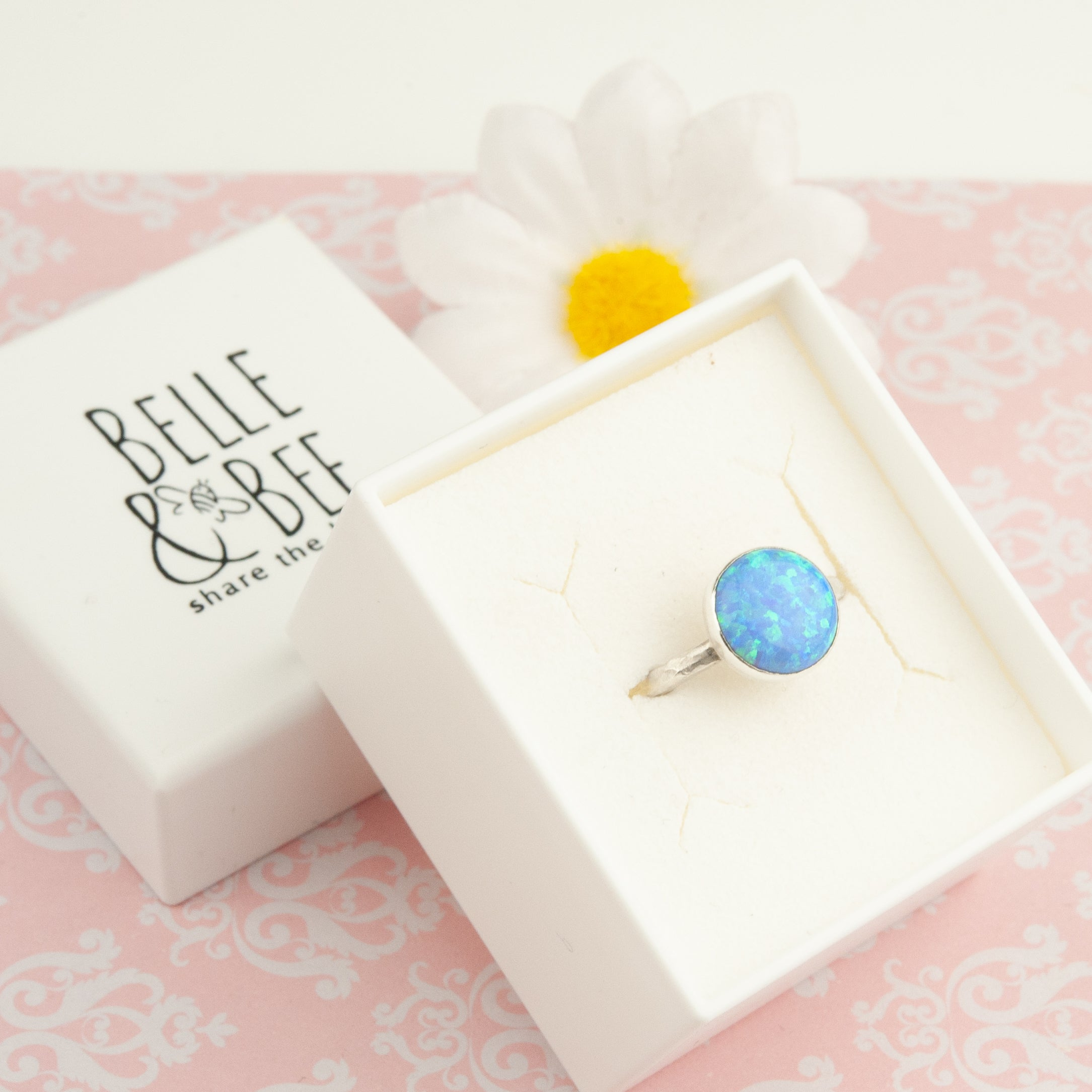 Belle & Bee sterling silver blue opal ring