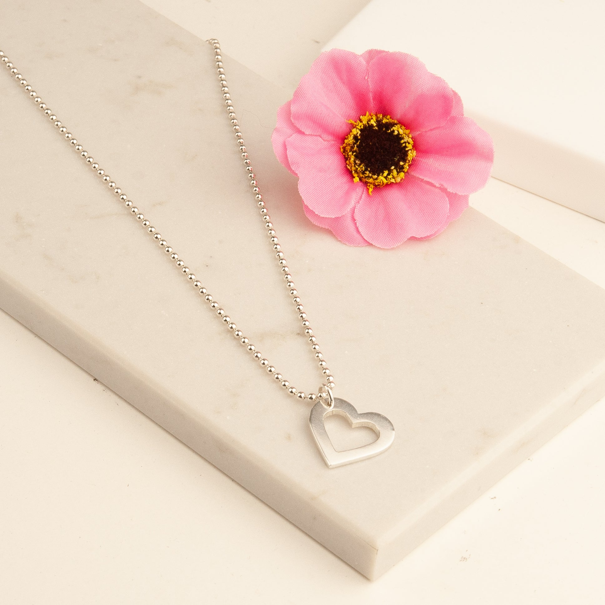 Belle and Bee Sterling Silver Chunky Open Heart Necklace