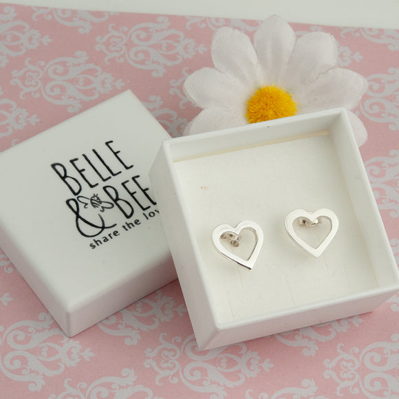 Belle & Bee Silver Open Heart Earrings